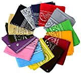 One Dozen/12pcs Assorted Bandanas 22X22 Inch 100% Cotton Novelty Double Sided Print Paisley Cowboy Bandana Party Favor Scarf Headband Handkerchiefs