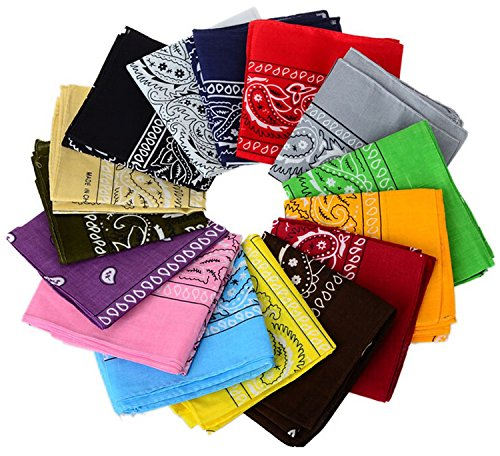 One Dozen/12pcs Assorted Bandanas 22X22 Inch 100% Cotton Novelty Double Sided Print Paisley Cowboy Bandana Party Favor Scarf Headband Handkerchiefs