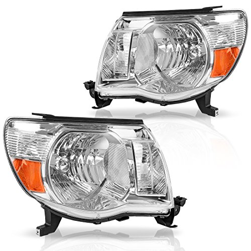 AUTOSAVER88 Compatible with 05-11 Toyota Tacoma Pickup Truck Headlight Assembly OE Style Replacement Chrome Housing Amber Reflector