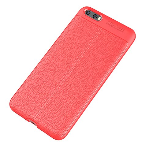 Xiaomi Mi6 Plus Funda, Ultra Ligero Case Amortiguación Rugged Silicona Ultra Delgado Cubierta Protectora Fibra Carbono Caso para Xiaomi Mi6 Plus Case - Rojo