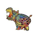 KAINUO HipopóTamo Puzzles De Juguetes De Madera De,Puzzle De Madera Adultos Animales MíStico,Puzzle Animales para Adultos Y NiñOs ColeccióN De Familiares(15 * 13.3in-300Pieces, Hippo)