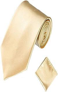 Men Satin Slim Skinny 2'' (5cm) Necktie Pocket Square Set (Champagne)