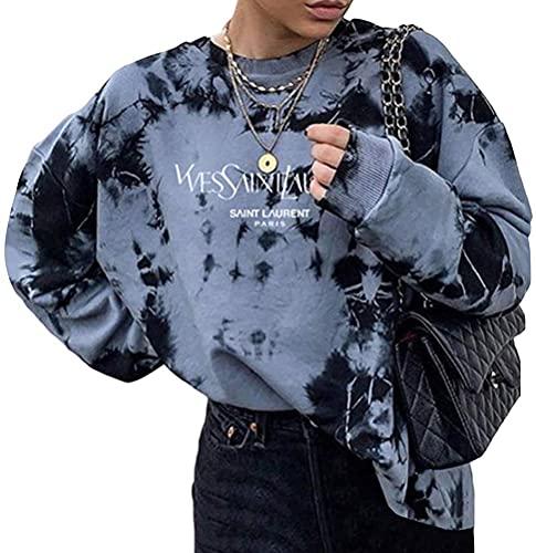 Yesgirl Sweatshirts Für Damen Lange Ärmel Spleißen Pullover Winter Rundhals Vintage Streetwear Oversized Farbstoff Drucken Mädchen Sportbekleidung Casual Top Chic Hoodie C Schwarz XL