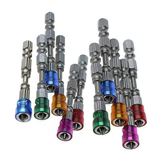 11-teiliges Kreuzschlitz-Bohrer-Set, 6,35 mm, S2, Chromstahl, PH2, magnetische Schraubendreher-Bits, Farbe zufällig