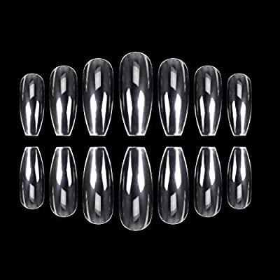 ECBASKET 500Pcs Coffin Nails Clear Nail Tips Full Cover Artificial Nails