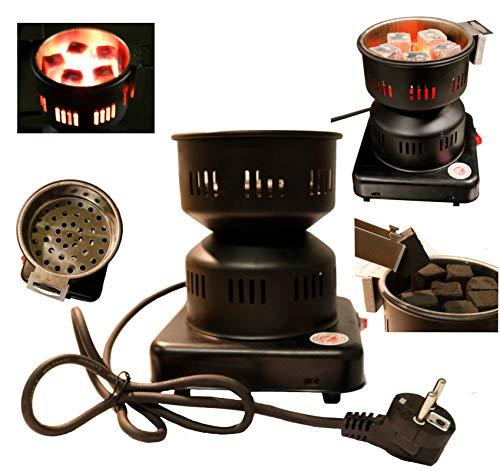 Elektrischer Kohleanzünder für Shisha - Kohle, mit herausnehmbarem Sieb und Zange. Überhitzungsschutz, Edelstahl-Heizspirale, Schutzgitter, Grillanzünder (schwarz)