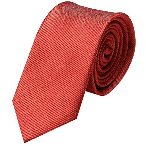 GASSANI Cravatta uomo stretta   eleganti stretti Cravatte monocolore 8cm a righe   con strisce fini   Rosso Brillante