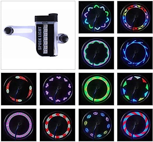 SOULBEST LED Luces de Rueda de Bicicleta - Led para radios de Bicicleta Impermeables 28 Leds Rayos Montar al Aire Libre con 32 Cambios de Patrón Diferente