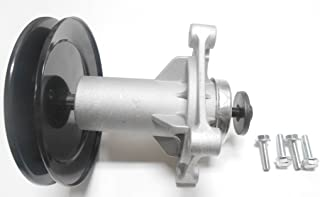 Spindle Assembly Includes Pulley, Mounting Bolts. Replaces Craftsman Poulan Husqvarna Spindle 187292, 192870, 532192870, 532187292, Pulley 195945, 197473; Ariens Spindle 21549012, Pulley 21546446