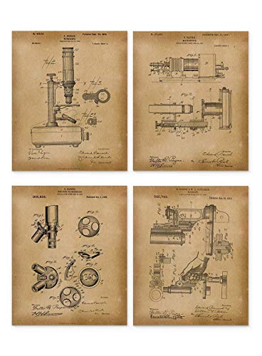 Microscope Patent Wall Art Decor, Set of 4 Vintage Prints, Ideal for Classroom Home or Office, Great Gift For Scientist or Medical Student, 8 inch x 10 inch By H+CO Inspired