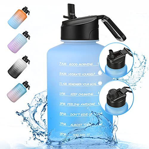Half Gallon/64oz Motivational Water Bottles with 2 Lids (Chug and Straw), Leakproof BPA Free Tritan Sports Water Bottle with Time Marker to Ensure You Drink Enough Water Throughout The Day