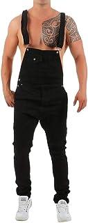 Uomo Jeans Overalls Denim Pantaloni Bavaglino Buco Distressed Jumpsuit Pantaloni Dritti metà della Vita Slim Fit Pantaloni...