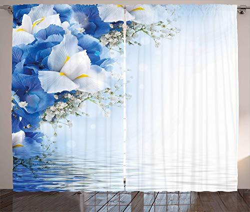 ABAKUHAUS Azul Y Blanco Cortinas, Hortensias Iris, Apto Lavadora Colores Durables Set de Dos Paños, 280 x 225 cm, Azul Blanco Amarillo