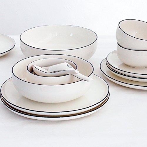 YUWANW Simple Vajilla De Cerámica De Lado Negro Platos Europeos Platos Platos Vajilla China Porcelana Doméstica, Platos De Vinagre
