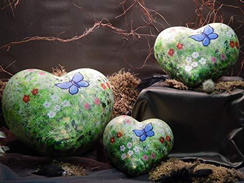 Tierurne - Herz aus Keramik - Motiv: Blumenwiese, Vol. ca. 2,50 Ltr.