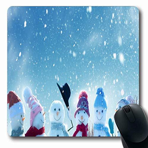 Jamron Mousepad OblongLandscape Besen Schneemänner Frohe Weihnachten Happy Standing Neu in Weiß Jahr Gruß Freeze Holidays Rutschfeste Gummimaus Pad Büro Computer Laptop Spiele Mat.-Nr.
