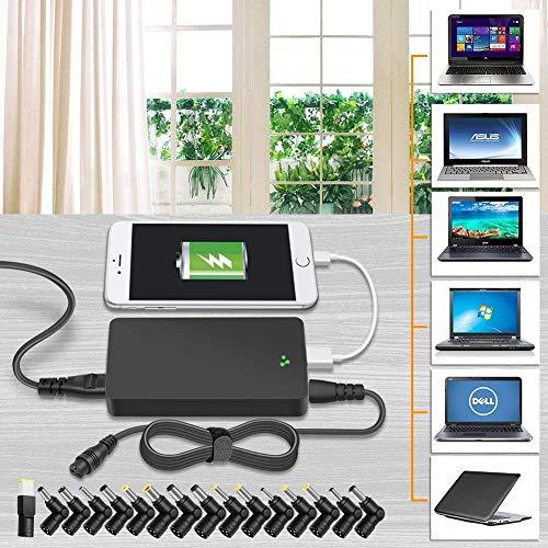 Outtag Universal Netzteil 90W 15V 16V 18.5V 19V 19.5V 20V Ladegerät AC Adapter für Asus Acer HP Dell Toshiba Lenovo Fujitsu IBM Samsung Sony Laptop, mit 5V 2A USB Port & 4FT Abnehmbar DC Kabel.