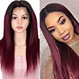 JOEDIR LUX 13X4 Lace Frontal Wigs Human Hair 150% Density 10A Brazilian Virgin Straight Human Hair Lace Front Wigs With Baby Hair for Black Women (Ombre Red T1B/99J, 20 INCH)