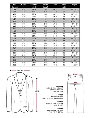 VINCI Men's 5 Button Single Breasted Classic Fit Banded Collar Suit 5Ht