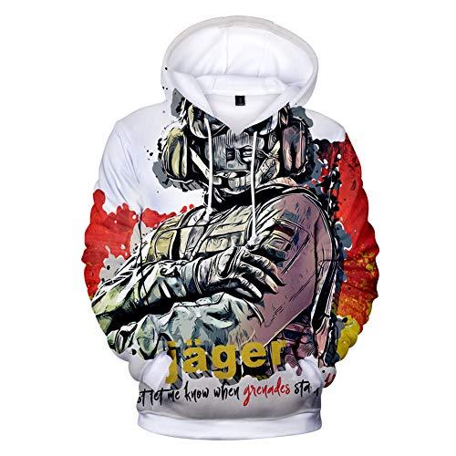 IFITBELT Herren Kapuzenpullover 3D Druck Rainbow Six Siege Hoodie Pullover, Damen Jungen Cosplay Hoody Sweatshirt Oversized 3XL, 4XL (EU XL(Asian XXL),SIX7)