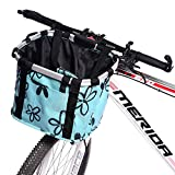 URBEST Bike Basket,Small Pets Cat Dog Folding Carrier,Removable Bicycle Handlebar Front Basket, Quick Release and Easy to Install,Detachable Cycling Bag (Blue Flower)