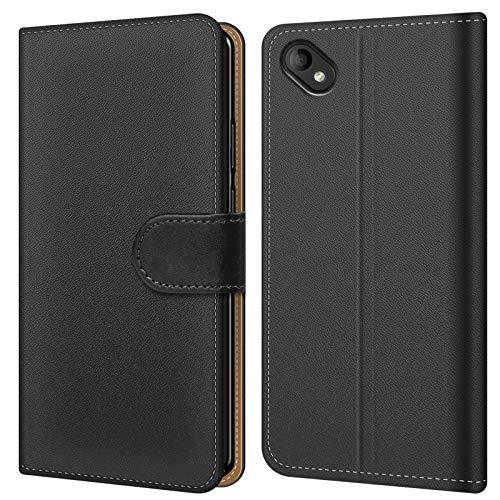 Conie BW45567 Basic Wallet Kompatibel mit Wiko Sunny 2 Plus, Booklet PU Leder Hülle Tasche mit Kartenfächer & Aufstellfunktion für Sunny 2 Plus Case Schwarz
