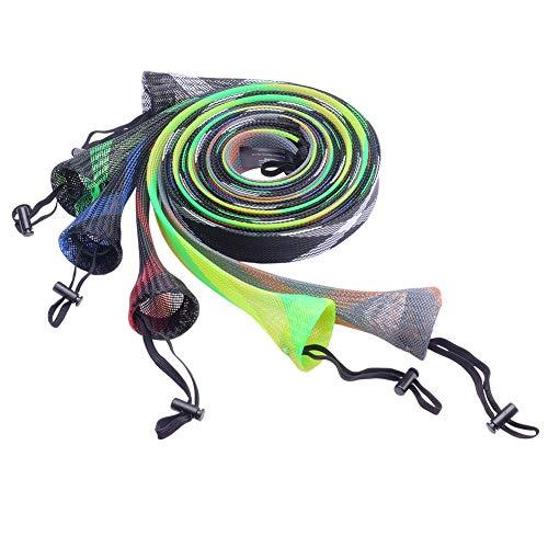 SF Angelrute Abdeckung Rutenhülle Stange Sleeve Sock Schutzhülle aus geflochtenes Netz für Fischen, Spinning(zufällige Farbe/6 St.)