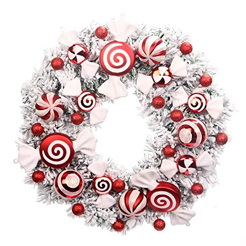 Christmas Wreaths, Artificial Wreaths, Door Hanging Props, With Candy Decorations, Suitable for Christmas, Festive Events, Shop Decorations, Etc. WTZ012