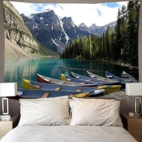 Hermoso bosque río paisaje tapiz arte psicodélico colgante de pared toalla de playa mandala manta tela colgante A4 100x150cm