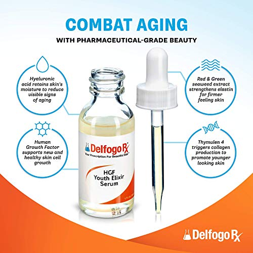 51CAh3W+7FL - Delfogo Rx Youth Elixir HGF Serum for Face - Human Growth Factor Serum with Hyaluronic Acid - Anti Wrinkle Serum & Collagen Serum for Microneedling - Day & Night Serum for Face Anti Aging