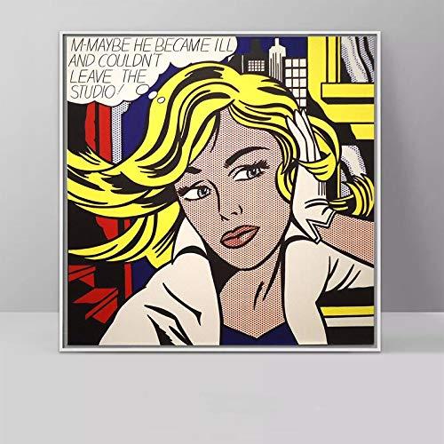 wtnhz Kein Rahmen Kunst Roy Lichtenstein Pop Art Leinwand Malerei Abstrakte Kunst Für Wohnzimmer Quadratische Wandbilder Leinwanddrucke 50x50cm
