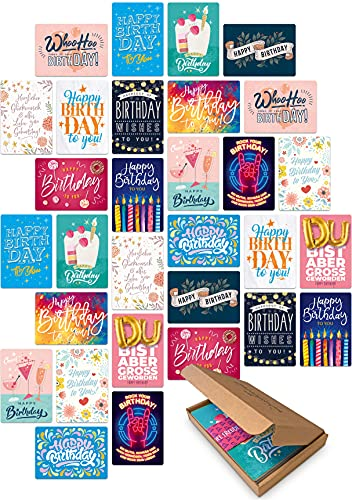 30 Geburtstagskarten im Set - Glückwunschkarten zum Geburtstag für Freunde, Eltern, Erwachsene und Kinder! Happy Birthday Geburtstagskarte! (Ohne Umschlag)