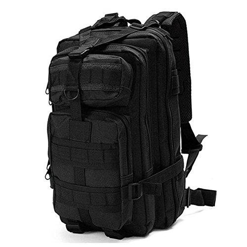 Minetom 30L Multi-Fonction Étanche Tactique Backpack Camouflage Militaire Sac à Dos Randonnée Trekking Camping Chasse Voyage Noir One Size