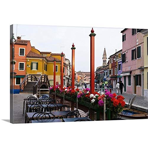 "GREATBIGCANVAS Italy, Venice, Burano. Cafe Tables Along The Canal Canvas Wall Art Print, 48""x32""x1.5"""