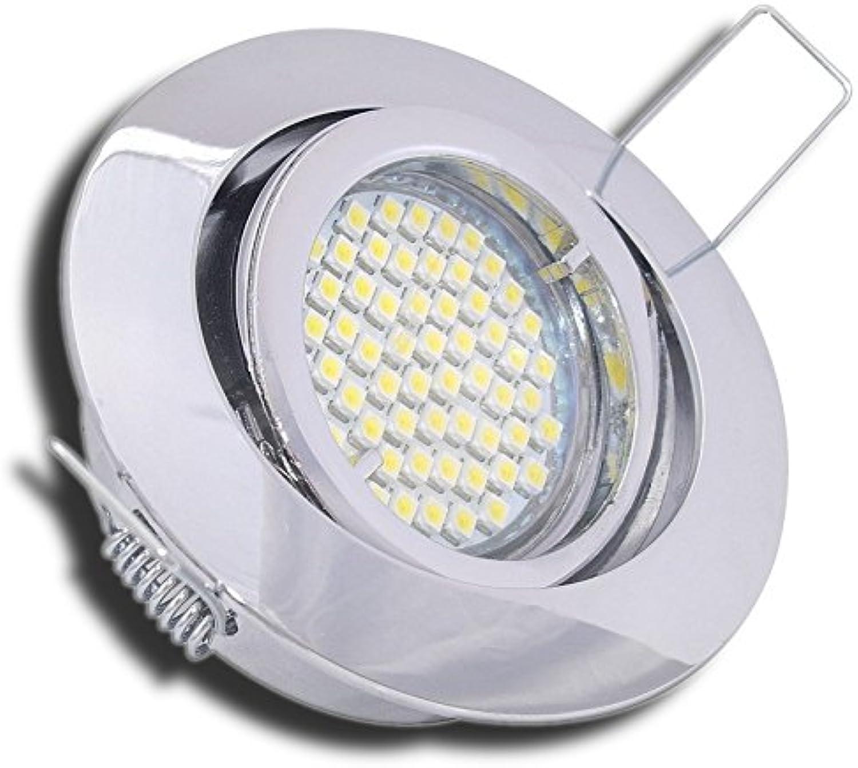 4 Stück SMD LED Einbauleuchte Lana 230 Volt 5 Watt Schwenkbar Chrom Neutralwei