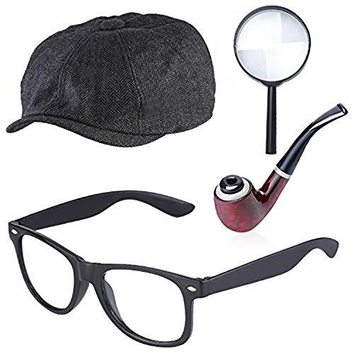 Beefunny Detective Zubehör-Set Kostümzubehör-Set, Detektivhut, Lupe, Tabakspfeife, Kostüm-Set (Schwarz2)