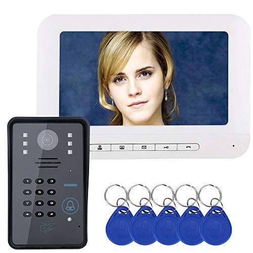 Video de la Puerta, Timbre de la Puerta de los teléfonos intercomunicador Timbre de visión Nocturna a Prueba de Lluvia, 7 Pulgadas de Color del Dispositivo de Control de Acceso de la contraseña(1#)