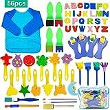 56 Pezzi Pennelli Spugna per Pittura Set per Bambini, SPECOOL Pennello da Disegno per Bambini, Paint Spugne per Bambini Lavabile Set, la Pittura di DIY Arte e Mestieri, Grembiule