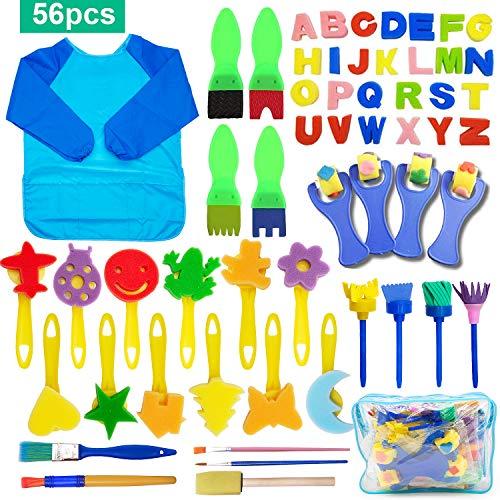 56 Pezzi Pennelli Spugna per Pittura Set per Bambini, SPECOOL Pennello da Disegno per Bambini, Paint Spugne per Bambini Lavabile Set, la Pittura di DI