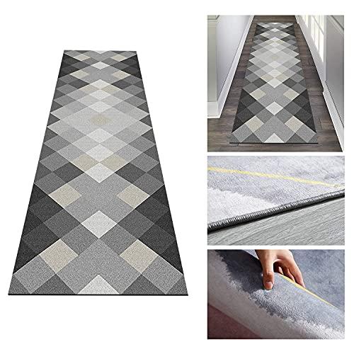 Moderne geometrische grijze runner tapijt, hotel gang tapijt wasbaar antislip tapijt, corridor tapijt voor keuken woonkamer slaapkamer,Gray,100x400cm