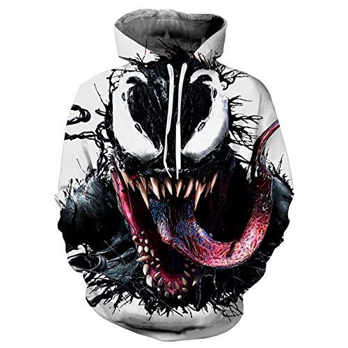 GYMAN Cosplay Superhéroes Venom Sudaderas con Capucha Sudaderas Adulto Niño De La Impresión 3D A Prueba Viento Trajes Chaqueta Informal para El Regalo Cumpleaños Navidad,A-Medium