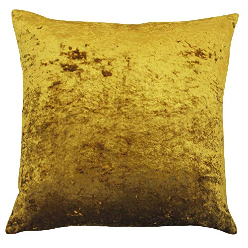 Riva Paoletti Verona Cushion Cover Square - Ochre Yellow - Velvet Feel - Crushed Velvet Look - Hidden Zip Design - 100% Polyester - 55 x 55cm (22' x 22' inches) - Designed in the UK
