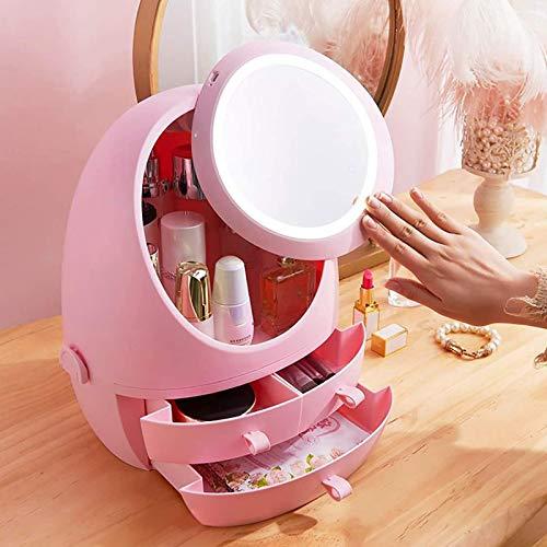 ZHURGN Makeup Stand Organizer, Moderne Schmuck- und Kosmetik-Aufbewahrungsboxen mit LED-Spiegel, für Badezimmer, Kommode, Schminktisch und Hautpflegeprodukte, Pink