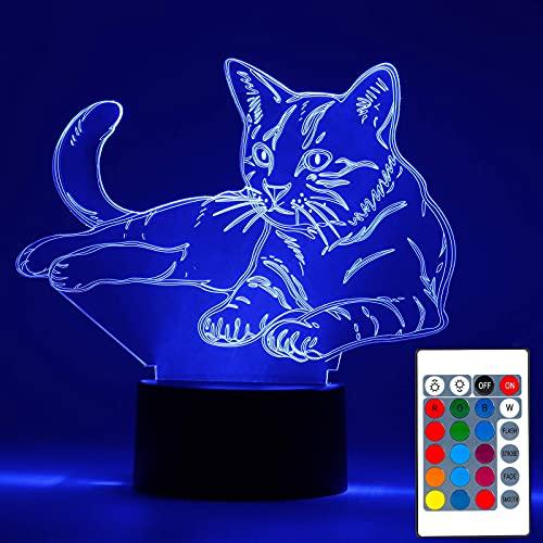 Luz de noche 3D, lámpara de ilusión LED 3D, luz nocturna, interruptor táctil cambiante automático de 16 colores con control remoto para regalos