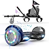 EVERCROSS Hoverboard, Hoverboard for Adults, Hoverboard with Seat Attachment, 6.5' Hover Board Self Balancing Scooter with Bluetooth Speaker & LED Lights, Suit for Adults and Kids (Black)