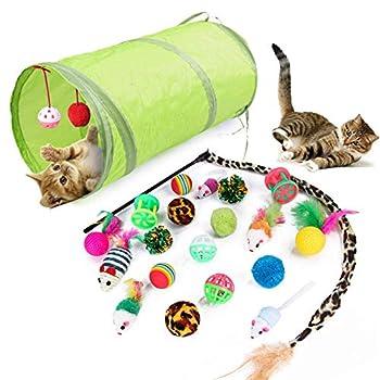 21 Pièces Jouet pour Chat, Animaux Domestiques Toys pour Chat pour Chat Jouet Chaton et Kitty avec Plumes, Tunnel, Balles, Souris et Boules avec Sac de Rangement