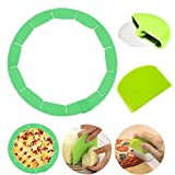 Quantity:You will get one pie crust set,which is pastry wheel cutter, dough bowl spatula,and silicone pie.Silicone pie pizza protectors are adjustable fits on pies from 8 to 11.4 inches,wheel cutter 3.8 inch *3.4inch,dough bowl spatula is 3.7 inch * ...