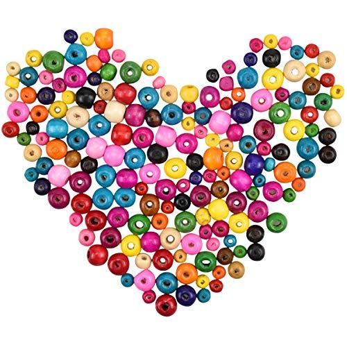 Dokpav 600 Pezzi Perline in Legno Colorate Atossiche, Palline di Legno Colorate con Foro, Perline Legno per Artigianato Collane Braccialetti 6mm,8mm,10mm