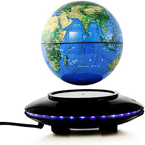 WXXW 6 Pulgadas Globo Terraqueo Giratorio con Luces Color LED,Azul Mapa Magnetico del Mundo para Regalos de Oficina