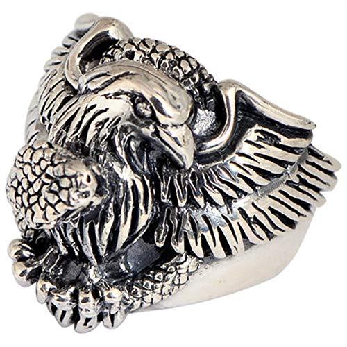 RXISHOP Anillo de plata de ley 925 para hombre y mujer, diseño de águila de serpiente, estilo vintage, anillo de plata